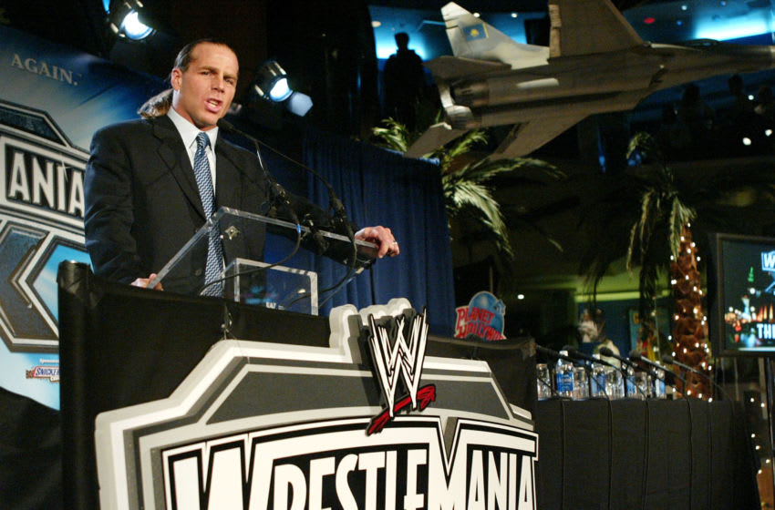 NEW YORK - MARCH 11: Wrestler Shawn Michaels attends a press conference to promote Wrestlemania XX at Planet Hollywood March 11, 2004 in New York City. (Photo by Peter Kramer/Getty Images)