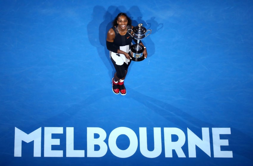 MELBOURNE, AUSTRALIA - JANUARY 28: Serena Williams of the United States poses with the Daphne Akhurst Trophy after winning the Women's Singles Final against Venus Williams of the United States on day 13 of the 2017 Australian Open at Melbourne Park on January 28, 2017 in Melbourne, Australia. (Photo by Cameron Spencer/Getty Images)