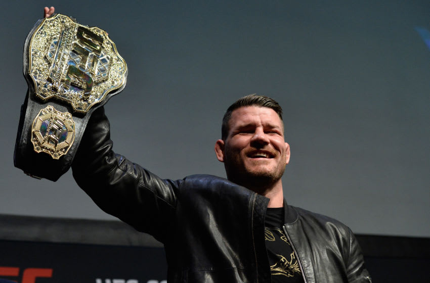 LAS VEGAS, NV - MARCH 03: UFC middleweight champion Michael Bisping raises his belt during the UFC press conference at T-Mobile arena on March 3, 2017 in Las Vegas, Nevada. (Photo by Brandon Magnus/Zuffa LLC/Zuffa LLC via Getty Images)