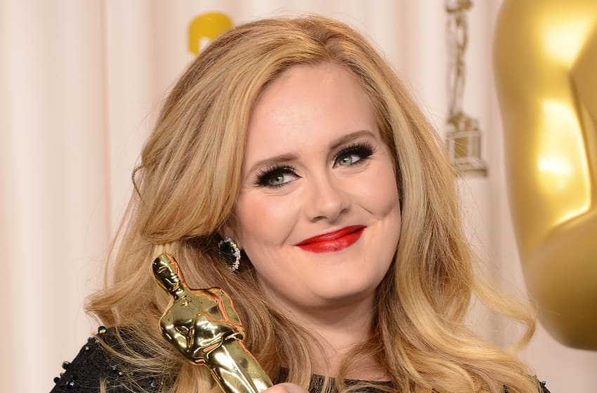 HOLLYWOOD, CA - FEBRUARY 24: Singer Adele, winner of the Best Original Song award for 'Skyfall,' poses in the press room during the Oscars held at Loews Hollywood Hotel on February 24, 2013 in Hollywood, California. (Photo by Jason Merritt/Getty Images)