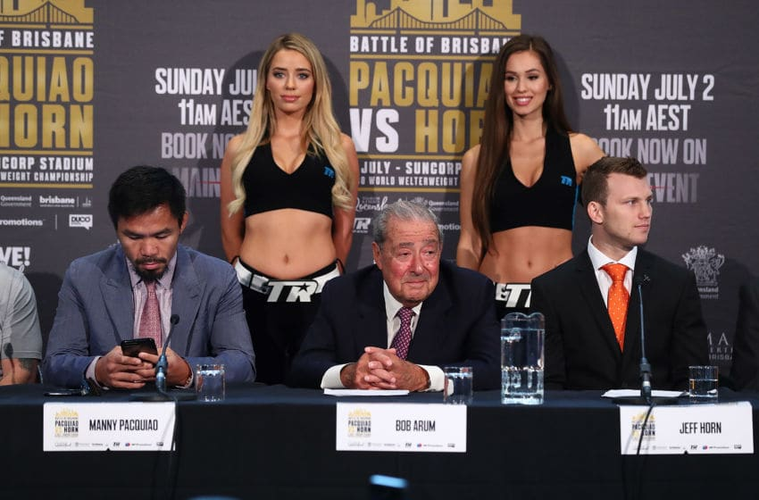 BRISBANE, AUSTRALIA - JUNE 28: Manny Pacquiao, Bob Arum and Jeff Horn during the official press conference for WBO World Welterweight Championship at Suncorp Stadium on June 28, 2017 in Brisbane, Australia. (Photo by Chris Hyde/Getty Images)