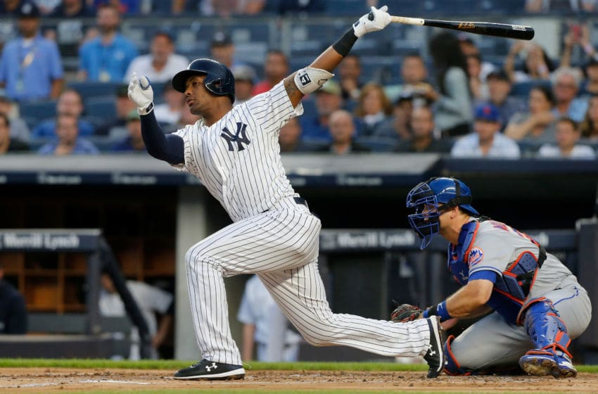 NEW YORK, NY - AUGUST 13: Miguel Andujar #41 of the New York Yankees in action against the New York Mets at Yankee Stadium on August 13, 2018 in the Bronx borough of New York City. The Mets defeated the Yankees 8-5. (Photo by Jim McIsaac/Getty Images)