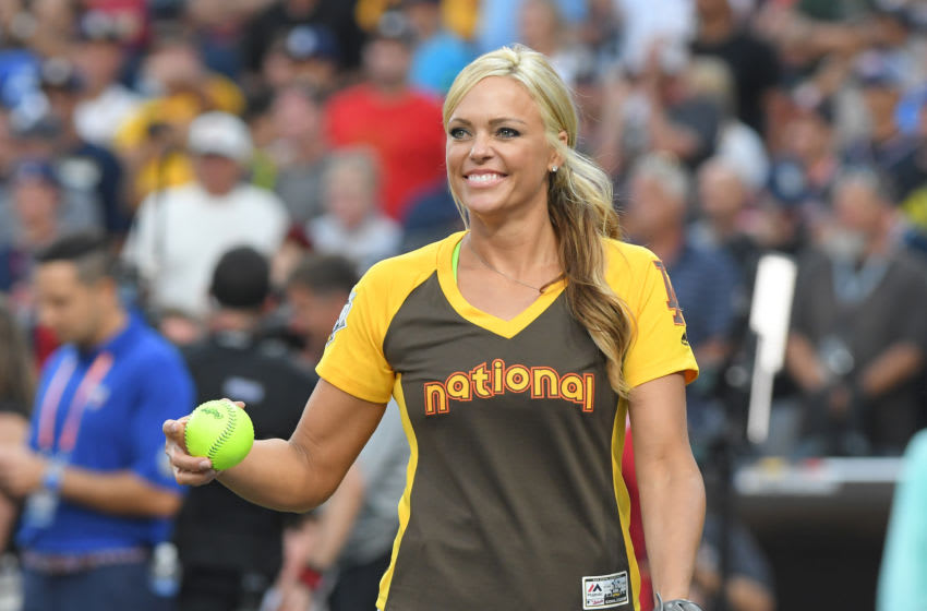 SAN DIEGO, CA - JULY 10: United States Olympic softball player Jennie Finch looks on during the MLB 2016 All-Star Legends and Celebrity Softball Game at PETCO Park on July 10, 2016 in San Diego, California. (Photo by Mark Cunningham/MLB Photos via Getty Images)