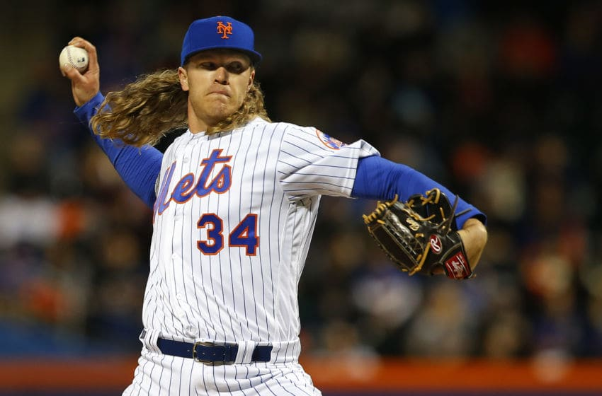 NEW YORK, NY - APRIL 09: Pitcher Noah Syndergaard #34 of the New York Mets delivers a pitch against the Miami Marlins during the first inning of a game at Citi Field on April 9, 2017 in New York City. (Photo by Rich Schultz/Getty Images)