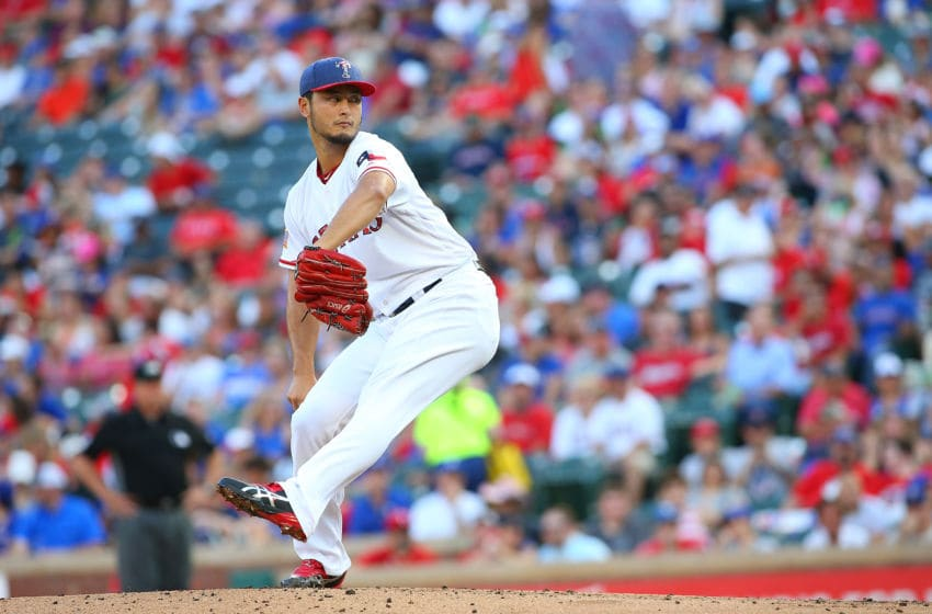 ARLINGTON, TX - JULY 04: Yu Darvish #11 of the Texas Rangers throws second inning against the Boston Red Sox at Globe Life Park in Arlington on July 4, 2017 in Arlington, Texas. (Photo by Rick Yeatts/Getty Images)