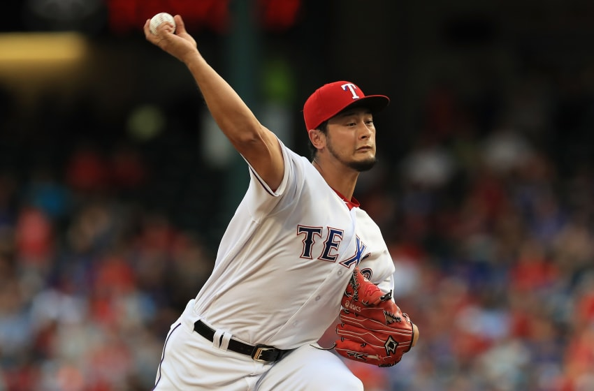 ARLINGTON, TX - JULY 26: Yu Darvish #11 of the Texas Rangers throws against the Miami Marlins in the second inning at Globe Life Park in Arlington on July 26, 2017 in Arlington, Texas. (Photo by Ronald Martinez/Getty Images)