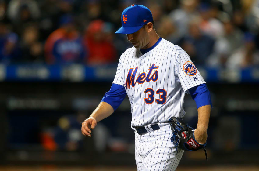NEW YORK, NY - APRIL 14: Matt Harvey #33 of the New York Mets walks to the dugout after the third inning against the Milwaukee Brewers at Citi Field on April 14, 2018 in the Flushing neighborhood of the Queens borough of New York City. (Photo by Jim McIsaac/Getty Images)