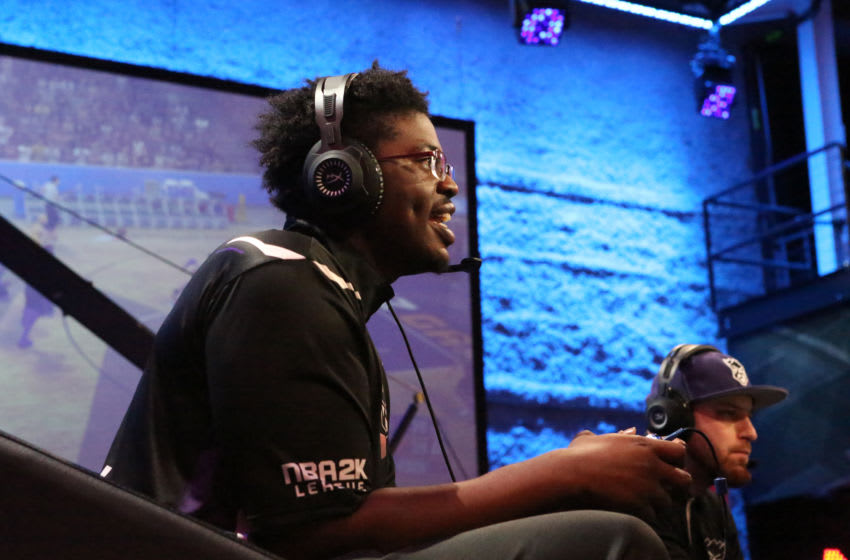 LONG ISLAND CITY, NY - MAY 12: Timelycook of Kings Guard Gaming against Jazz Gaming on May 12, 2018 at the NBA 2K League Studio Powered by Intel in Long Island City, New York. NOTE TO USER: User expressly acknowledges and agrees that, by downloading and/or using this photograph, user is consenting to the terms and conditions of the Getty Images License Agreement. Mandatory Copyright Notice: Copyright 2018 NBAE (Photo by Alex Nahorniak-Svenski/NBAE via Getty Images)