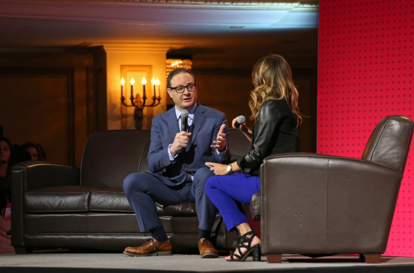 CHICAGO, IL - MAY 15: ESPN Analyst, Adrian Wojnarowski talks on stage during the NBA Draft Lottery on May 15, 2018 at The Palmer House Hilton in Chicago, Illinois. NOTE TO USER: User expressly acknowledges and agrees that, by downloading and or using this Photograph, user is consenting to the terms and conditions of the Getty Images License Agreement. Mandatory Copyright Notice: Copyright 2018 NBAE (Photo by Gary Dineen/NBAE via Getty Images)