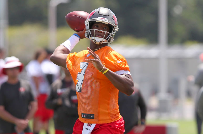 TAMPA, FL - JUNE 12: Jameis Winston (3) looks for the open receiver during the Tampa Bay Buccaneers Minicamp on June 12, 2018 at One Buccaneer Place in Tampa, Florida. (Photo by Cliff Welch/Icon Sportswire via Getty Images)