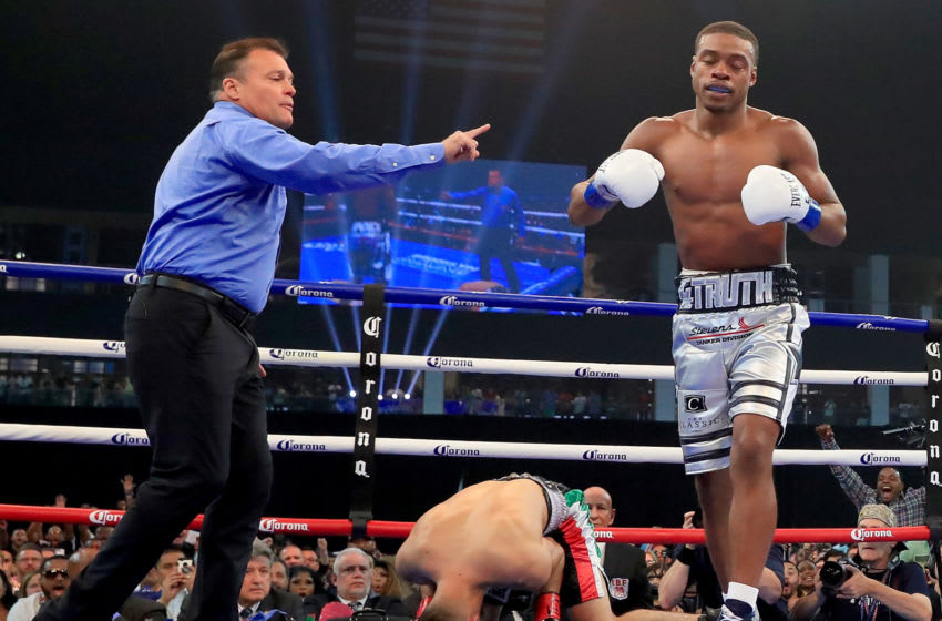 FRISCO, TX - JUNE 16: Errol Spence Jr. knocks out Carlos Ocampo in the first round of a IBF Welterweight Championship bout at The Ford Center at The Star on June 16, 2018 in Frisco, Texas. (Photo by Tom Pennington/Getty Images)