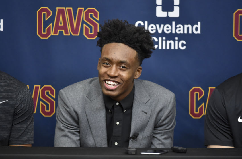 INDEPENDENCE, OH - JUNE 22: Cleveland Cavaliers draft pick, Collin Sexton, is introduced during a press conference on June 22, 2018 at the Cleveland Clinic Courts in Independence, Ohio. NOTE TO USER: User expressly acknowledges and agrees that, by downloading and/or using this photograph, user is consenting to the terms and conditions of the Getty Images License Agreement. Mandatory Copyright Notice: Copyright 2018 NBAE (Photo by David Liam Kyle/NBAE via Getty Images)
