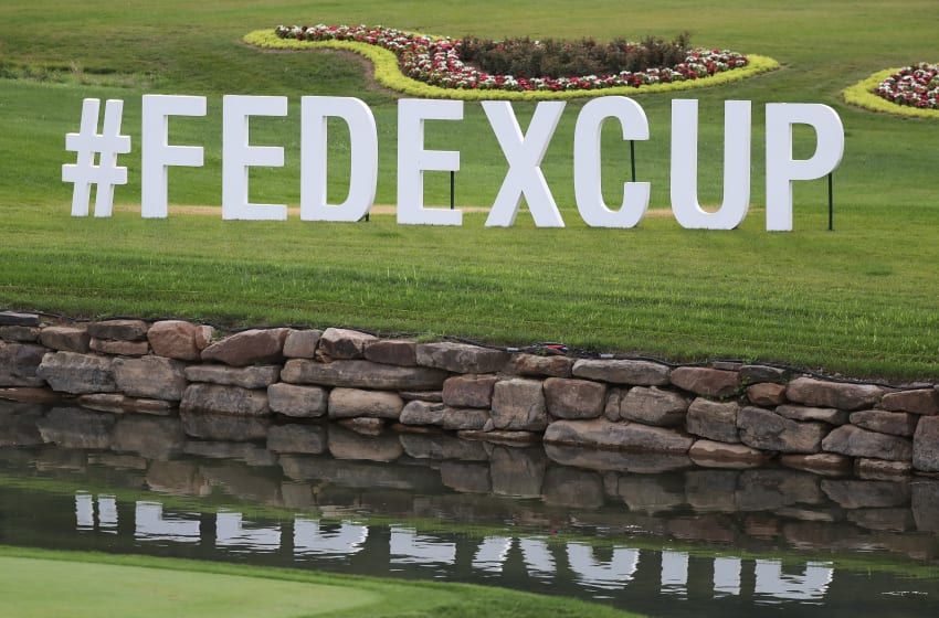WHITE SULPHUR SPRINGS, WV - JULY 5 : Fedexcup sign shown by the 18th green during round one of A Military Tribute At The Greenbrier held at the Old White TPC course on July 5, 2018 in White Sulphur Springs, West Virginia. (Photo by Rob Carr/Getty Images)