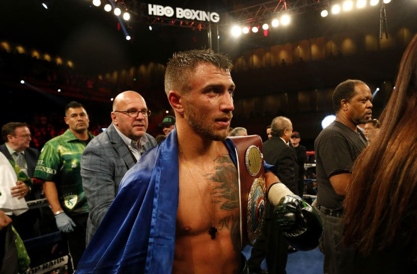 OXON HILL, MD - APRIL 8: Vasyl Lomachenko of Ukraine reacts after defeating Jason Sosa (not pictured) in their WBO Super Featherweight World Championship bout at The Theater at MGM National Harbor on April 8, 2017 in Oxon Hill, Maryland. (Photo by Matt Hazlett/Getty Images)