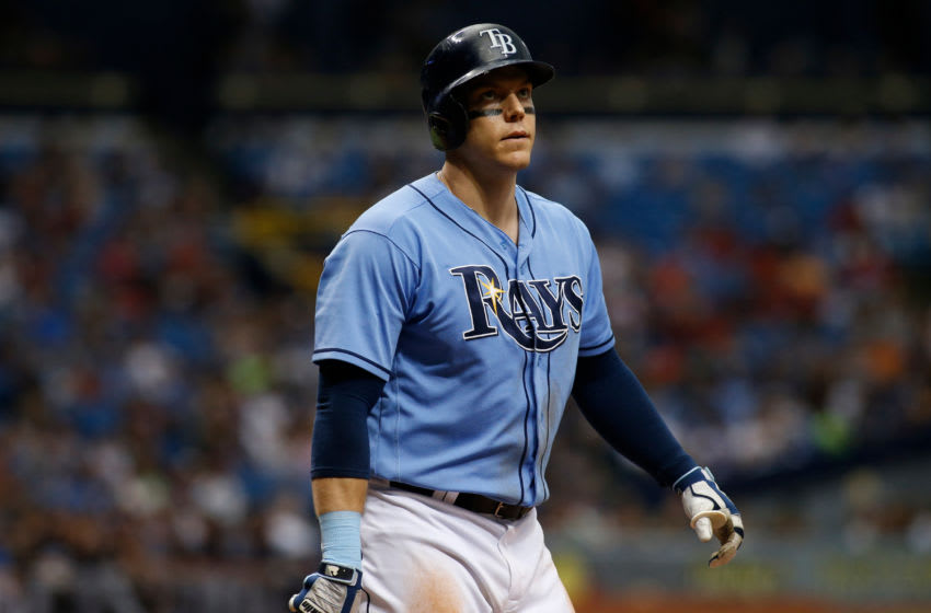ST. PETERSBURG, FL - AUGUST 13: Logan Morrison #7 of the Tampa Bay Rays reacts after striking out swinging to pitcher Corey Kluber of the Cleveland Indians during the sixth inning of a game on August 13, 2017 at Tropicana Field in St. Petersburg, Florida. (Photo by Brian Blanco/Getty Images)