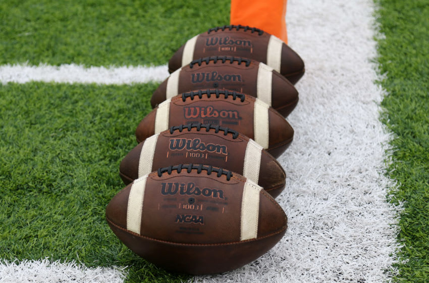 MONTGOMERY, AL - AUGUST 26: Wilson NCAA footballs on the field before the FCS Kickoff Classic between the Chattanooga Mocs and the Jacksonville State Gamecocks on August 26, 2017 at the Cramton Bowl in Montgomery, Alabama. Jacksonville State defeated Chattanooga 27-13. (Photo by Michael Wade/Icon Sportswire via Getty Images)