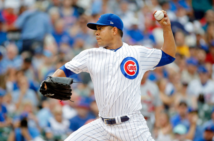 CHICAGO, IL - SEPTEMBER 17: Jose Quintana #62 of the Chicago Cubs pitches against the St. Louis Cardinals during the first inning at Wrigley Field on September 17, 2017 in Chicago, Illinois. (Photo by Jon Durr/Getty Images)