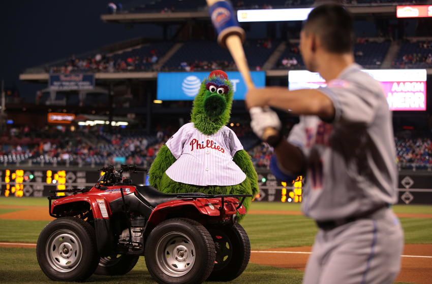 PHILADELPHIA, PA - SEPTEMBER 30: The Phillie Phanatic stares down Norichika Aoki