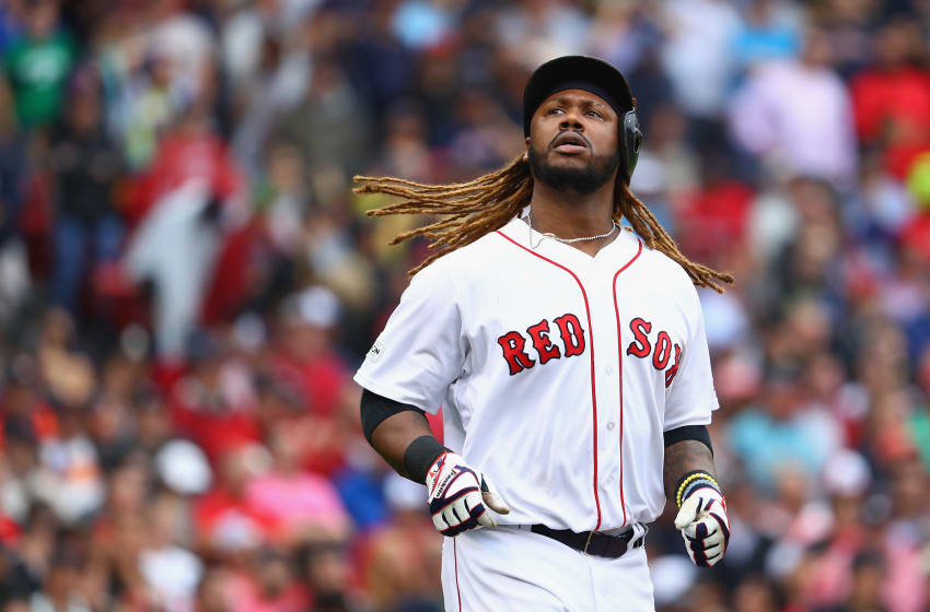 BOSTON, MA - OCTOBER 09: Hanley Ramirez #13 of the Boston Red Sox reacts during game four of the American League Division Series against the Houston Astros at Fenway Park on October 9, 2017 in Boston, Massachusetts. (Photo by Maddie Meyer/Getty Images)
