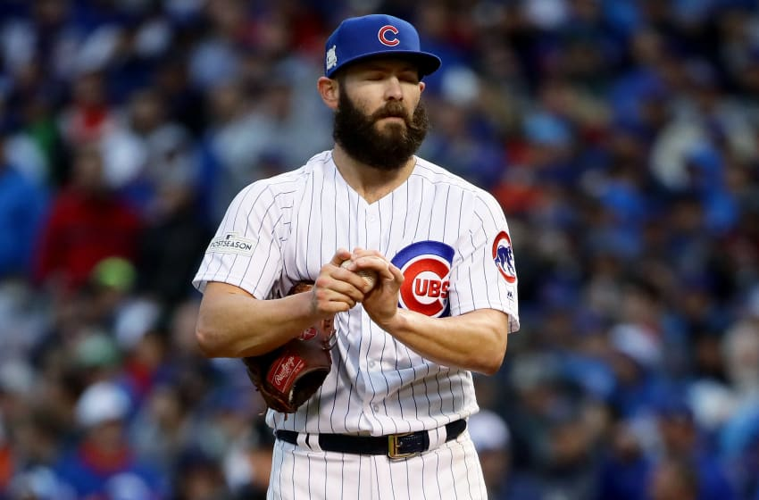CHICAGO, IL - OCTOBER 11: Jake Arrieta #49 of the Chicago Cubs reacts in the third inning during game four of the National League Division Series against the Washington Nationals at Wrigley Field on October 11, 2017 in Chicago, Illinois. (Photo by Jonathan Daniel/Getty Images)