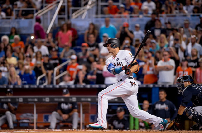 MIAMI, FL - OCTOBER 01: Giancarlo Stanton #27 of the Miami Marlins at bat during the game against the Atlanta Braves at Marlins Park on October 1, 2017 in Miami, Florida. (Photo by Rob Foldy/Miami Marlins via Getty Images)