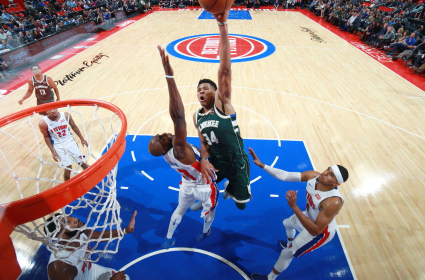 DETROIT, MI - NOVEMBER 3: Giannis Antetokounmpo #34 of the Milwaukee Bucks shoots the ball against the Detroit Pistons on November 3, 2017 at Little Caesars Arena in Detroit, Michigan. NOTE TO USER: User expressly acknowledges and agrees that, by downloading and/or using this photograph, User is consenting to the terms and conditions of the Getty Images License Agreement. Mandatory Copyright Notice: Copyright 2017 NBAE (Photo by Brian Sevald/NBAE via Getty Images)