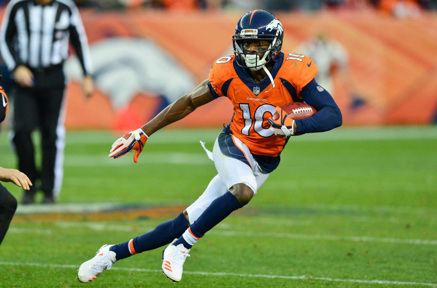 DENVER, CO - NOVEMBER 19: Wide receiver Emmanuel Sanders #10 of the Denver Broncos returns a punt against the Cincinnati Bengals at Sports Authority Field at Mile High on November 19, 2017 in Denver, Colorado. (Photo by Dustin Bradford/Getty Images)