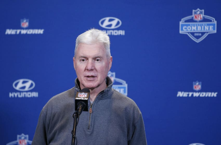 INDIANAPOLIS, IN - FEBRUARY 25: Green Bay Packers executive vice president and general manager Ted Thompson speaks to the media during the 2016 NFL Scouting Combine at Lucas Oil Stadium on February 25, 2016 in Indianapolis, Indiana. (Photo by Joe Robbins/Getty Images)
