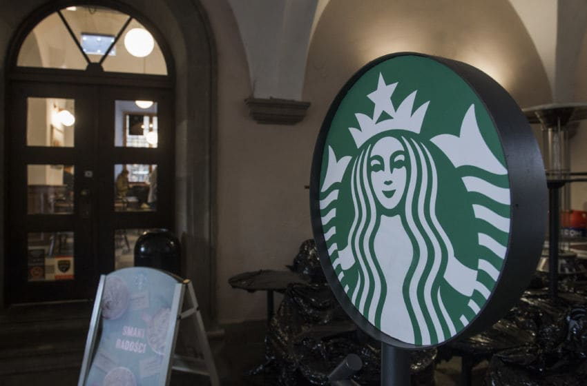 KRAKOW, POLAND - 2017/12/14: The logo of Starbucks seen in Krakow. (Photo by Omar Marques/SOPA Images/LightRocket via Getty Images)