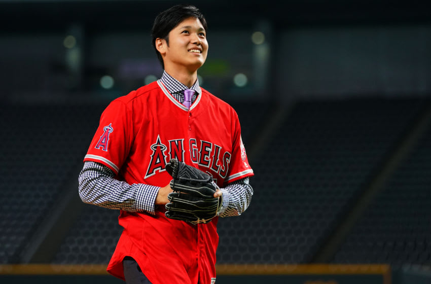 SAPPORO, JAPAN - DECEMBER 25: Shohei Ohtani of the Los Angeles Angels attends his farewell event at Sapporo Dome on December 25, 2017 in Sapporo, Hokkaido, Japan. (Photo by Masterpress/Getty Images)