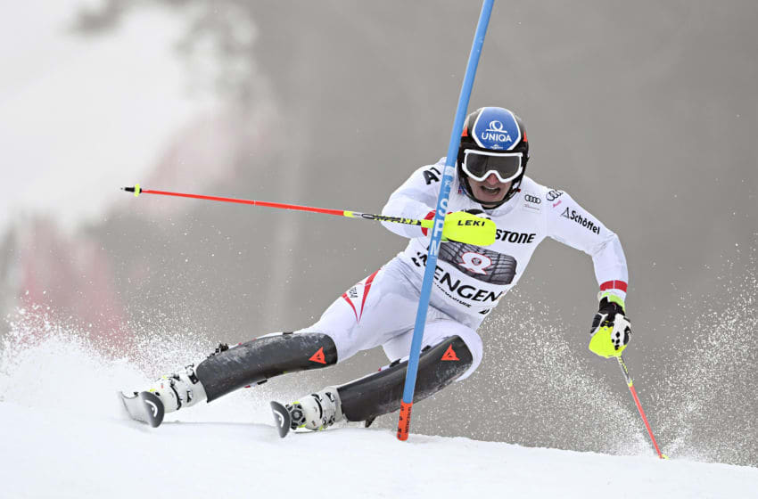 WENGEN, SWITZERLAND - JANUARY 12: Matthias Mayer of Austria in action during the Audi FIS Alpine Ski World Cup Men's Combined on January 12, 2018 in Wengen, Switzerland. (Photo by Alain Grosclaude/Agence Zoom/Getty Images)