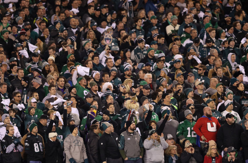 PHILADELPHIA, PA - JANUARY 21: Philadelphia Eagles fans watch their team in the NFC Championship game against the Minnesota Vikings at Lincoln Financial Field on January 21, 2018 in Philadelphia, Pennsylvania. (Photo by Patrick Smith/Getty Images)