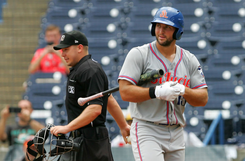 TAMPA, FL - AUG 13: Tim Tebow (15) of the Mets has a difference of opinion with the third strike call by home plate umpire Matt Carlyon as he walks back to the dugout during the Florida State League game between the St. Lucie Mets and the Tampa Yankees on August 13, 2017, at Steinbrenner Field in Tampa, FL. (Photo by Cliff Welch/Icon Sportswire via Getty Images)