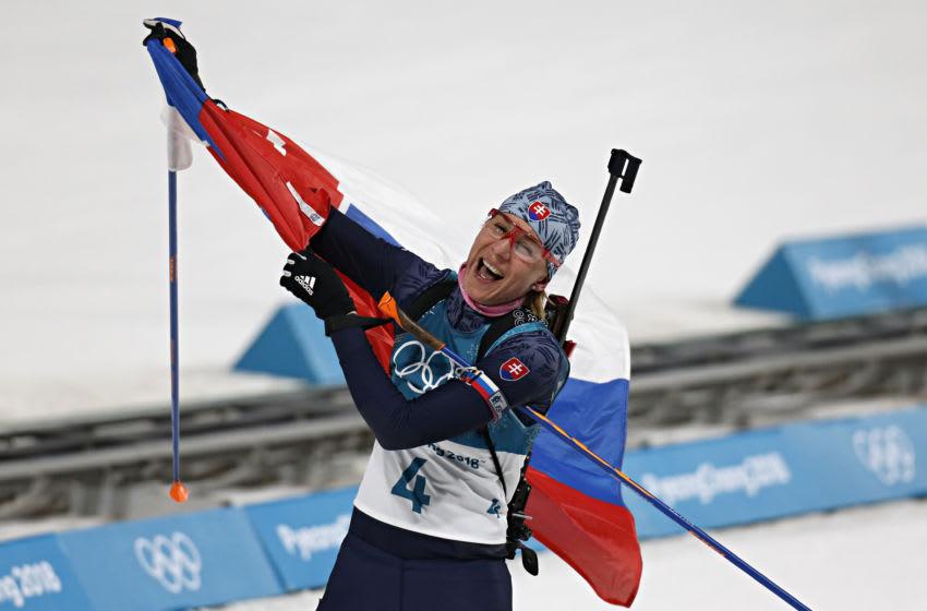 PYEONGCHANG-GUN, SOUTH KOREA - FEBRUARY 17: Anastasiya Kuzmina of Slovakia wins the gold medal during the Biathlon Women's 12.5km Mass Start at Alpensia Biathlon Centre on February 17, 2018 in Pyeongchang-gun, South Korea. (Photo by Alexis Boichard/Agence Zoom/Getty Images)