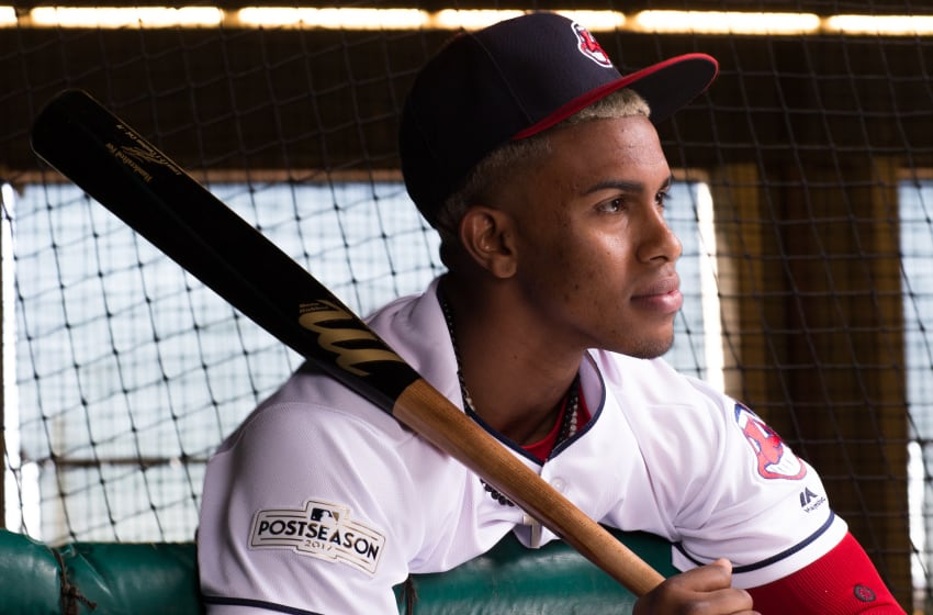 GOODYEAR, AZ - FEBRUARY 21: Francisco Lindor of the Cleveland Indians poses for a portrait at the Cleveland Indians Player Development Complex on February 21, 2018 in Goodyear, Arizona. (Photo by Rob Tringali/Getty Images)