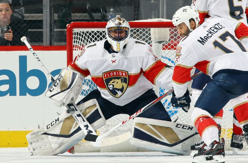 FanDuel NHL: NEWARK, NJ - NOVEMBER 27: Roberto Luongo #1 of the Florida Panthers protects the net against the New Jersey Devils at the Prudential Center on November 27, 2017 in Newark, New Jersey. The Panthers defeated the Devils 3-2. (Photo by Bruce Bennett/Getty Images)