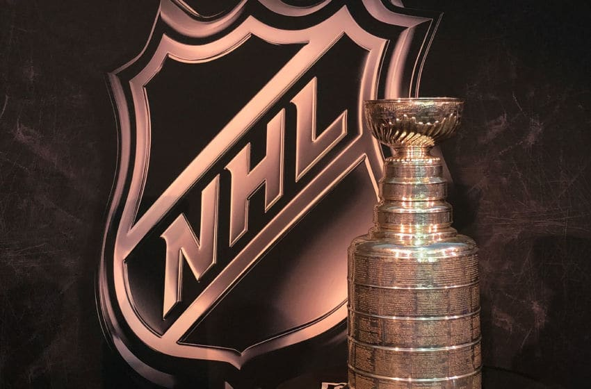 TAMPA, FL - JANUARY 27: (EDITORS NOTE: Image was created with a smartphone.) The Stanley Cup is seen on display during the PreGame