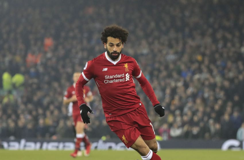3rd March 2018, Anfield, Liverpool, England; EPL Premier League football, Liverpool versus Newcastle United; Mohamed Salah of Liverpool runs with the ball (Photo by Conor Molloy/Action Plus via Getty Images)