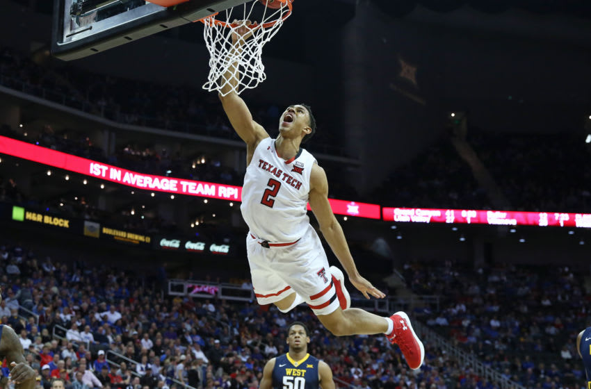 KANSAS CITY, MO - MARCH 09: Texas Tech Red Raiders guard Zhaire Smith (2) goes high for a dunk but was called for a charge in the first half of a semifinal game in the Big 12 Basketball Championship between the West Virginia Mountaineers and Texas Tech Red Raiders on March 9, 2018 at Sprint Center in Kansas City, MO. (Photo by Scott Winters/Icon Sportswire via Getty Images)