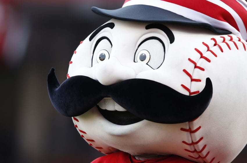 CINCINNATI, OH - JUNE 29: Cincinnati Reds mascot Mr. Redlegs performs during the game against the Minnesota Twins at Great American Ball Park on June 29, 2015 in Cincinnati, Ohio. The Reds defeated the Twins 11-7. (Photo by Joe Robbins/Getty Images)