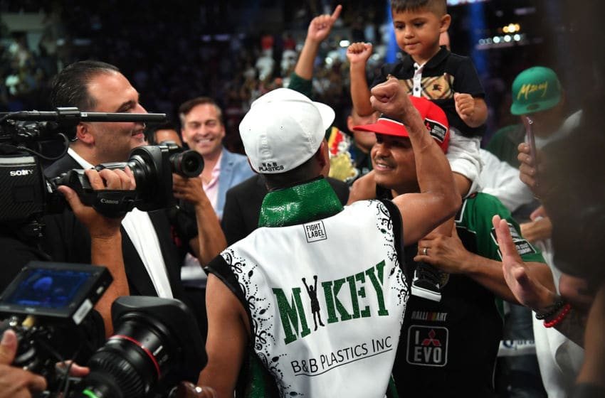 LOS ANGELES, CA - JULY 28: Mikey Garcia celebrates with his team after he defeated Robert Easter, Jr in their WBC & IBF World Lightweight Title fights at Staples Center on July 28, 2018 in Los Angeles, California. (Photo by Jayne Kamin-Oncea/Getty Images)