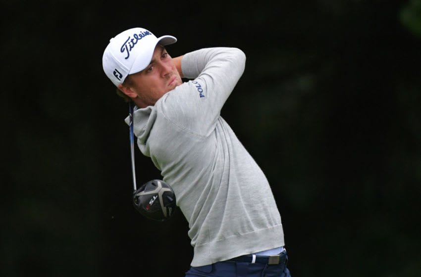 NEWTOWN SQUARE, PA - SEPTEMBER 10: Justin Thomas plays his tee shot on the fourth hole during the weather-delayed final round of the BMW Championship at Aronimink Golf Club on September 10, 2018 in Newtown Square, Pennsylvania. (Photo by Drew Hallowell/Getty Images)