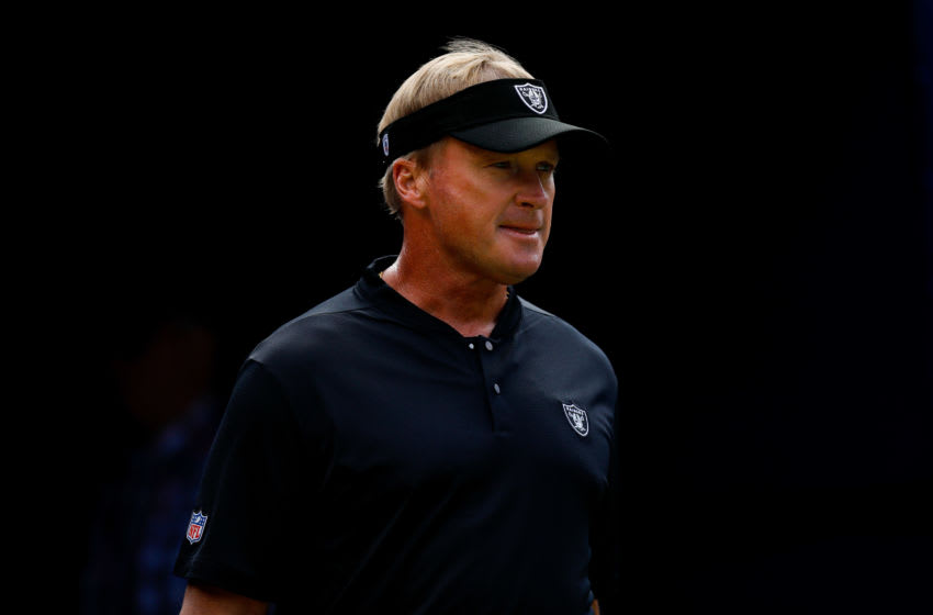 DENVER, CO - SEPTEMBER 16: Head coach Jon Gruden of the Oakland Raiders walks onto the field before a game against the Denver Broncos at Broncos Stadium at Mile High on September 16, 2018 in Denver, Colorado. (Photo by Justin Edmonds/Getty Images)