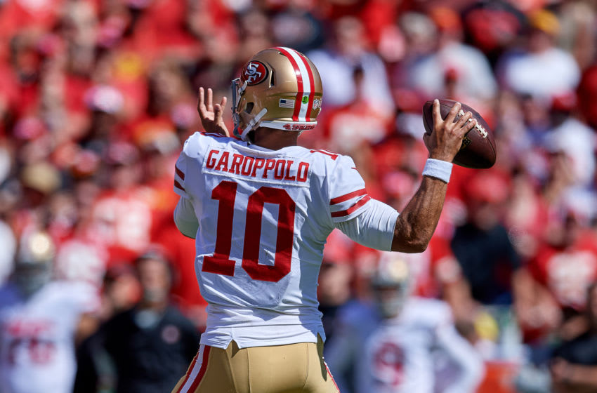 NFL DFS Preseason Week 2: KANSAS CITY, MO - SEPTEMBER 23: San Francisco 49ers quarterback Jimmy Garoppolo (10) throws the football in action during an NFL game between the San Francisco 49ers and the Kansas City Chiefs on September 23, 2018, at Arrowhead Stadium in Kansas City, MO. (Photo by Robin Alam/Icon Sportswire via Getty Images)