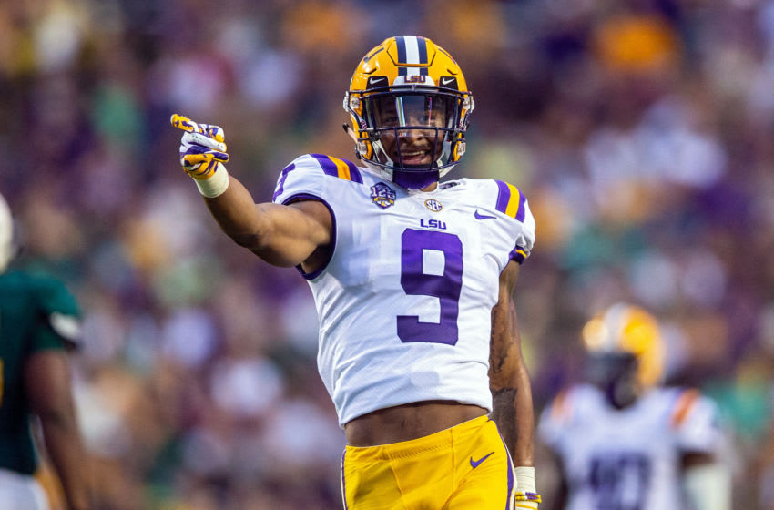 BATON ROUGE, LA - SEPTEMBER 08: LSU Tigers safety Grant Delpit (9) celebrates during a game between the LSU Tigers and Southeastern Louisiana Lions at Tiger Stadium in Baton Rouge, Louisiana on September 8, 2018. (Photo by John Korduner/Icon Sportswire via Getty Images)