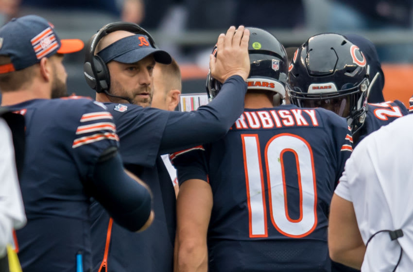 CHICAGO, IL - SEPTEMBER 30: Chicago Bears head coach Matt Nagy talks with Chicago Bears quarterback Mitchell Trubisky (10) during a game between the Tampa Bay Buccaneers and the Chicago Bears on September 30, 2018, at the Soldier Field in Chicago, IL. (Photo by Patrick Gorski/Icon Sportswire via Getty Images)
