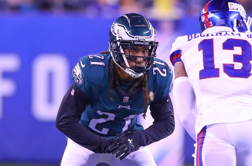 EAST RUTHERFORD, NJ - OCTOBER 11: Philadelphia Eagles cornerback Ronald Darby (21) during the National Football League game between the New York Giants and the Philadelphia Eagles on October 11, 2018 at MetLife Stadium in East Rutherford, NJ. (Photo by Rich Graessle/Icon Sportswire via Getty Images)