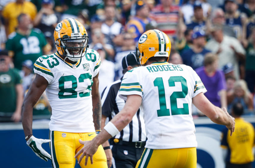 Green Bay Packers QB Aaron Rodgers and WR Marquez Valdes-Scantling (Photo by Joe Robbins/Getty Images)