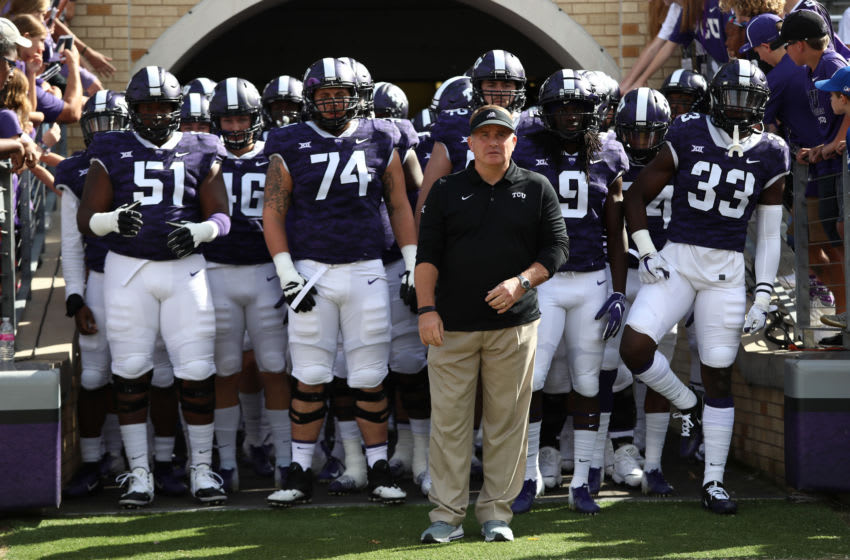 FORT WORTH, TEXAS - NOVEMBER 03: Head coach Gary Patterson of the TCU Horned Frogs at Amon G. Carter Stadium on November 03, 2018 in Fort Worth, Texas. (Photo by Ronald Martinez/Getty Images)
