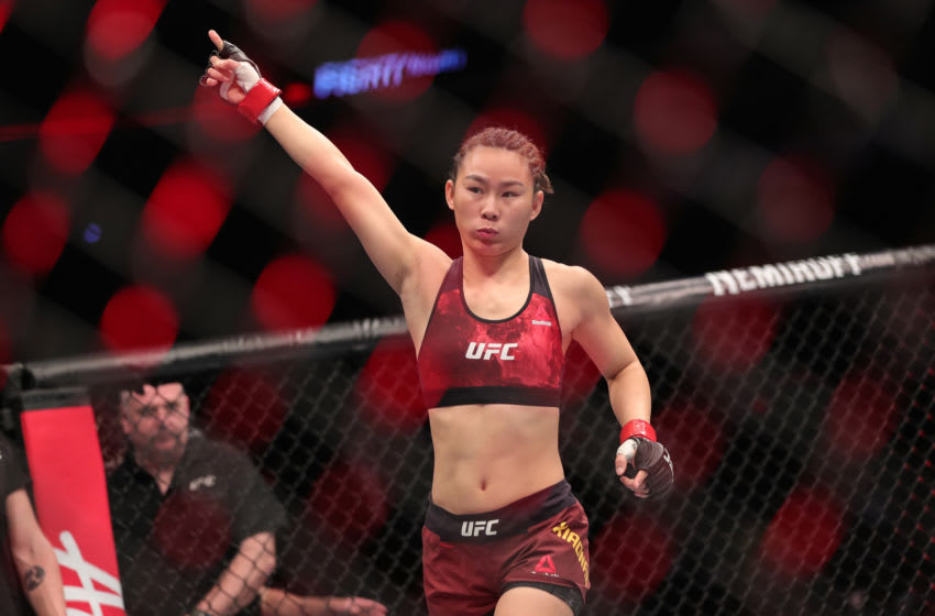 BEIJING, CHINA - NOVEMBER 24: Yan Xiaonan of China reacts before the women's strawweight bout during the UFC Fight Night event against Syuri Kondo of Japan punches in at Cadillac Arena on November 24, 2018 in Beijing, China. (Photo by Emmanuel Wong/Getty Images)